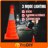 Safety Cone Flexible Collapsible Multi Purpose Pop Up Safety Cone with Light 70cm