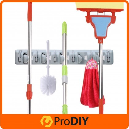 3/4/5 Slot Mop and Broom Holder Brush Broom Hanger Storage Rack Kitchen Organizer with Mounted Accessory