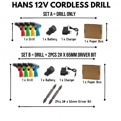 HANS 12V  Cordless Drill Screwdriver With Battery Li-Ion