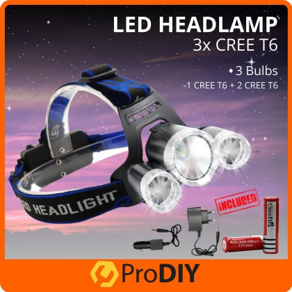 LED Professional Lighting Rechargeable Headlamp T6 LED Outdoor Headlamp for Running Camping Fishing ( T13-S )