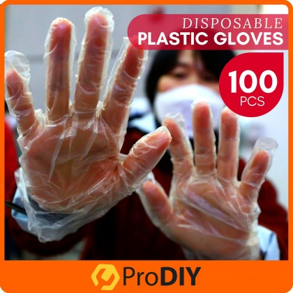 100 PCS Clear Transparent Disposable HDPE Plastic Gloves One Size Fits Most Food Handling Hygiene Virus Sarung Tangan